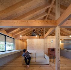 Large Roof House / Matsuyama Architect and Associates Photos © Matsuyama Architect and Associates Japanese Architecture, Interior Architecture, Wooden House, House Roof, Habitats, Track Lighting, Home Improvement, Interior Decorating, Woodworking