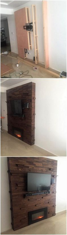 Wood pallet is the best option for your house in terms of the designing a media unit alongside the wall paneling effect being part of. The wall paneling effect has been superbly made the part of whole of the wall that is simply giving an awe-inspiring feature effect.
