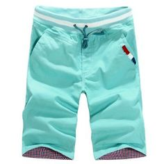 Riinr New Arrival Summer All Cotton 9 Colors Classic Style Men's Casual Drawstring Mid Teenagers Beach Thin Knee Length Shorts