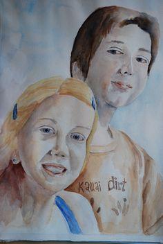 Mis queridos hijos, Alexandra y Daniel . Formato A2. Acuarela realizada por Conchi Moreno. #retrato  #acuarela