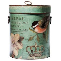 decoupage tin and bucket Recycled Crafts, Diy And Crafts, Paper Crafts, Vintage Tins, Shabby Vintage, Altered Tins, Hat Boxes, Pretty Box, Background Vintage