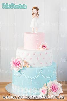 Birthday cake fondant girl shabby chic 42 ideas for 2019 Fondant Girl, Fondant Cakes, Cupcake Cakes, Gorgeous Cakes, Amazing Cakes, Super Torte, First Communion Cakes, Girly Cakes, Cake Pictures