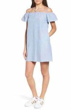 7a59b34c8a5f Lush Stripe Off the Shoulder Dress Striped Dress