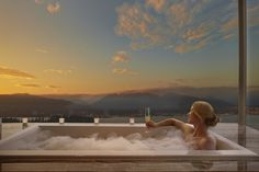 Bathtub with a view at the Fairmont Pacific Rim in Vancouver
