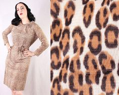 50s Leopard print dress belted bettie page pinup girl sexy