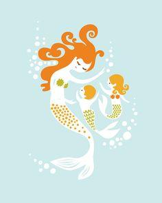 I love mermaids. Framed for a little girls room :)