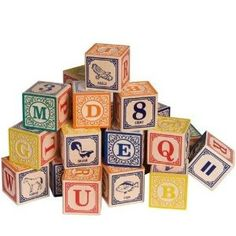 such beautiful ABC blocks!  Elves and Angels.