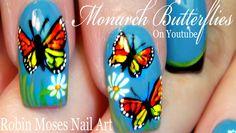 Monarch Butterfly Nail Art Design | Spring Butterflies Nails Tutorial
