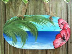 Coastal Hand Painted Tropical Beach Scene Sign by ThePaintedPetal, $45.00