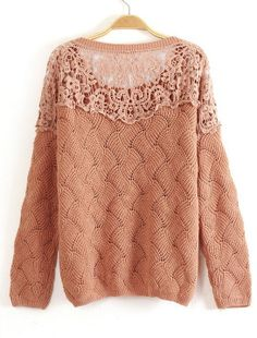Khaki Long Sleeve Contrast Lace Hollow Sweater - Sheinside.com