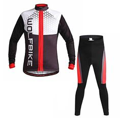 Boys' Cycling Pants - Outdoor ManagerMensWomen Biking Thermal Fleece Lining Clothes Suit Keep Warm Winter Cycling Long Jersey Red >>> More info could be found at the image url.