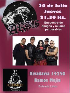 Este Jueves 20/7 el encuentro de amigos es en Florimido Ramos Mejia con la música perdurable de ARSIS y la mejor atencion