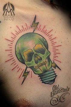 #lightbulb #skull Watercolor Tattoo, Light Bulb, Skull, Tattoos, Ideas, Tatuajes, Tattoo, Light Globes, Thoughts