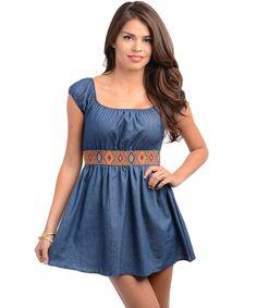 http://www.kutestyles.com/ Navy Denim Dress, Fabric Content: 100% Polyester.