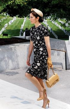 More hats...H.R.H. CROWN PRINCESS MARY of DENMARK at Arlington National Cemetery, Arlington, Virginia, USA