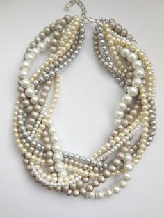 White  ivory cream matte taupe tan silver pearl by WildStoneJewels, $42.50