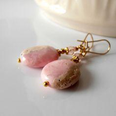 Pink Earrings Pink Rhodochrosite Gemstone by FiveLittleGems, $17.00