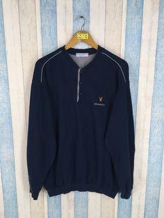 Vintage 80 s LYLE SCOTT Blue Sweatshirt Unisex Xlarge Lyle Scott Casual  Streetwear Sportswear Pullover Button Jumper Sweater Size XL 64102ffe8