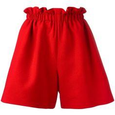 Fendi wide leg shorts (9 470 SEK) ❤ liked on Polyvore featuring shorts, fendi, red, pants, ruched shorts, red shorts, stretch waist shorts and elastic waistband shorts