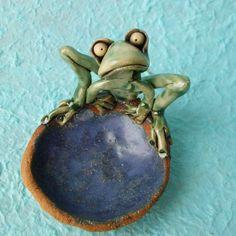 Ceramic Frog Dish Sculpture by RudkinStudio on Etsy