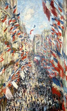 """The Rue Montorgueil, Paris, was painted by Claude Monet 1840-1926 on 30 June 1878 for a festival declared that year by the government celebrating """"peace and work""""."""