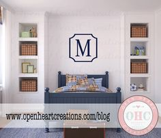 Modern Single Initial Monogram Wall Decal with Frame Border - Personalized Vinyl Decal for Nursery Teen or Family Name 22 x 22 FN0582 by openheartcreations on Etsy https://www.etsy.com/listing/169169754/modern-single-initial-monogram-wall