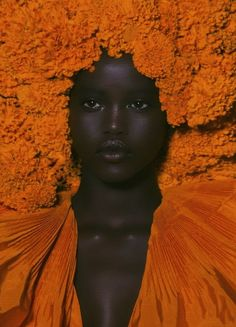 dark skin girls adut akech for valentino Black Girl Aesthetic, Orange Aesthetic, Pelo Natural, Dark Skin Beauty, Black Beauty, Brown Skin Girls, My Black Is Beautiful, Beautiful Eyes, Beautiful Pictures