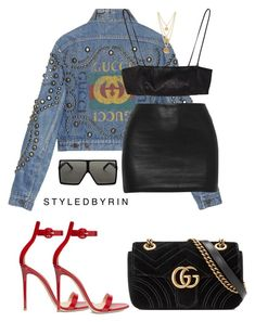 """""""Untitled #77"""" by styledbyrin ❤ liked on Polyvore featuring Gucci, Yves Saint Laurent, Gianvito Rossi and Ben-Amun"""