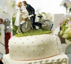 biycle wedding table center pieces | Cake topper and many other designs available in the Confetti Shop