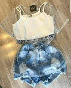 """The post """"Roupa divaa"""" appeared first on Pink Unicorn Ropa Cute Casual Outfits, Swag Outfits, Cute Summer Outfits, Stylish Outfits, Teenage Outfits, Teen Fashion Outfits, Outfits For Teens, Girl Outfits, Fashion Clothes"""