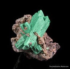 Malachite ps. after Barite, Shangulowe Mine, Kambove District, Katanga, Democratic Republic of Congo , Thumbnail, 2.5 x 2.0 x 1.8 cm, These unusual sharp barite replacements by malachite came out many years ago in the late 1990s., For sale from The Arkenstone, www.iRocks.com. For more details on this piece and others, visit http://www.irocks.com/minerals/specimen/45408