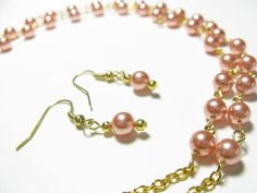 Necklace and earring combo  Gold and Rose Peach by KrysthleDesigns, $46.00