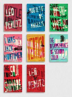 Book cover designs for Pushkin Press's Vertigo series of crime classics 1920–70, designed by Jamie Keenan.