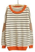 Beige+Contrast+Leather+Long+Sleeve+Striped+Sweater+$30.32