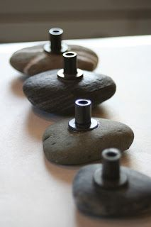Use machine bolts and epoxy to make these river rock cabinet handles. But I'm thinking of using jewelery pieces to dress up a dresser.