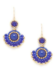 Miguel Ases blue and jade fan drop earrings #bohemian #chic