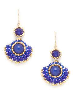 Miguel Ases blue and jade fan drop earrings #bohemian #chic