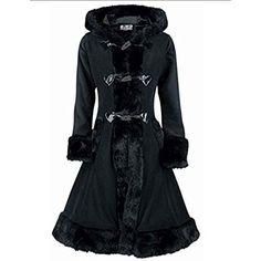 Poizen Industries - Minx Coat Fleece Mantel, schwarz, Grösse M