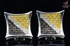 MULTI-COLOR STONE MENS LADIES KITE SHAPE 14K WHITE GOLD FINISH EAR STUD EARRINGS #bacio2jewel #Stud