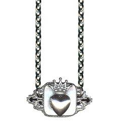 Retro & Vintage Jewelry & Accessories Crown Heart Locket on Plate Rockware Necklace