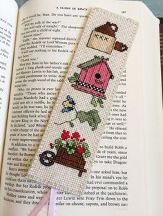 """Cross Stitch Bookmark, """"Country Life II"""", Handcrafted Bookmark, Gift for Bookworm"""