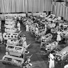 Ward full of people in iron lungs from polio.  I read the other day there are still a few hundred people in the US in iron lung machines, mostly in their homes.