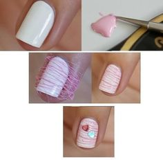 How to make nails #Tutorial #whitepolish #pinkstripes  #nailart #nails #mani #polish - For more nail looks or to share yours, go to bellashoot.com