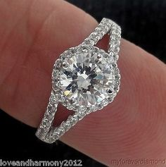 Round cut Halo style split shank Giamond Engagement Ring 14K SOLID White GOLD