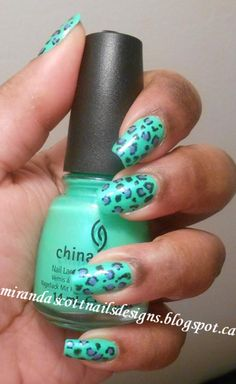 Leopard Print Manicure #green #leopardprint #animalprint  #nails #nailart #nailpolish #naillacquer #polishaddict - bellashoot.com #partynails