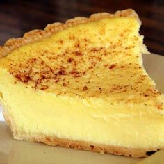 CLASSIC CUSTARD PIE 1 unbaked pie shell (I use Marie Callendar's deep dish) 3 large eggs ½ cup of sugar ½ teaspoon of salt ½ teaspoon of nutmeg 2-2/3 cups of milk 1 teaspoon pure vanilla extract Pre-heat the oven to 350 degrees. Beat your eggs slightly, then add sugar, salt, nutmeg, and milk. Beat well and poor into the unbaked pie shell. Bake for 35 to 40 minutes. Remove from oven and cool. Sprinkle the top of pie with fresh ground nutmeg and serve.