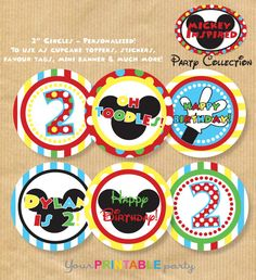 Mickey Mouse inspired Cupcake Toppers/ por YourPrintableParty