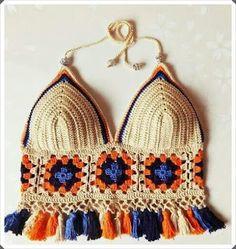 Swimsuit, handmade crochet bra made of cotton and natural wool - Knitwear bra summer comfortable bra bra Tops A Crochet, Crochet Granny, Knit Crochet, Crochet Squares, Granny Squares, Crochet Bikini Top, Crochet Blouse, Crochet Shorts, Crochet Woman