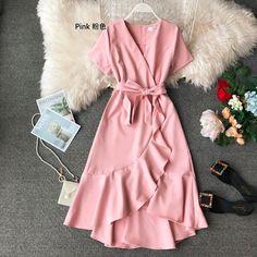 Casual Ruffle Elegant V Neck Vintage Dresses Dresses Elegant, Dressy Dresses, Cute Dresses, Vintage Dresses, Summer Dresses, Long Midi Dress, Vestidos Plus Size, Ruffle Dress, Ruffle Trim