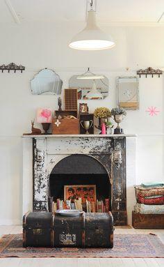 romantic vintage fireplace